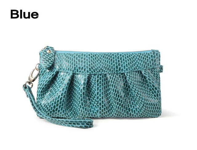 Fashion Serpentine Women's Day Clutch Genuine Leather Handbags Coin Purse Mobile Phone Bag Clutch Bag iphone Case - Style Lavish