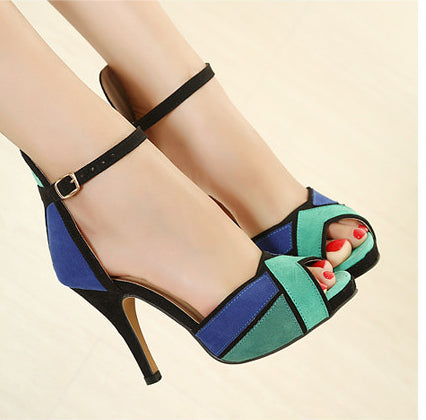Women Fashion Shoes Peep-toe Pumps Sexy Super high heels Vogue Ankle Strap Shoes