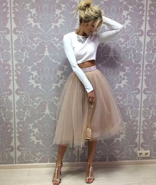 Champagne Tutu Skirt Band Zipper Waistline A Line Tee Length Midi Skirt Modest Women Skirts - Style Lavish