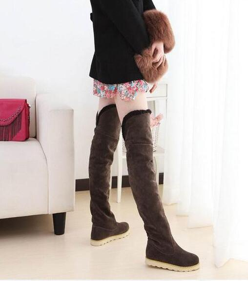 Fashion Long Snow Boots Women Knee High Boots Flat Heeled Over the Knee Boots Wedges Shoes - Style Lavish
