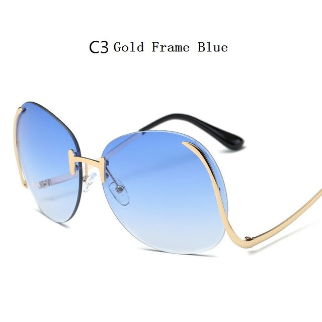 737a3dd80e Fashion Vintage Round Rimless Clear Oversized Sunglasses Women Brand D
