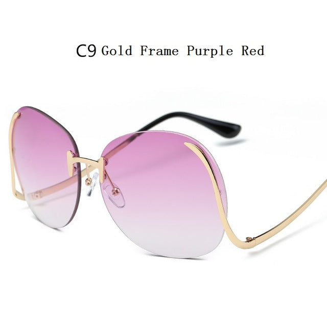 4df5c6dd4f ... Fashion Vintage Round Rimless Clear Oversized Sunglasses Women Brand  Designer Sun Glasses Metal Frame Retro Gradient ...