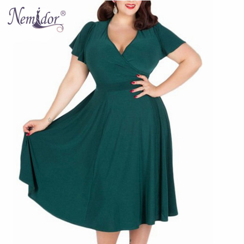 Women Sexy V-neck Short Sleeve Party A-line Dress Elegant Stretchy Midi Cocktail Swing Dress