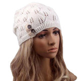 Women Fashion Spring Knitting Beanie Skullies Hat Casual Hollow Out Leaves Lace Button Wool Cap Baggy Warm Hat