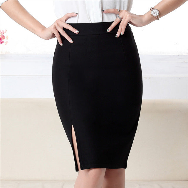 c330629cea ... Women Fashion Formal Pencil Skirt Autumn Winter Elegant Slim Front Slit  Midi Skirt OL Skirts ...