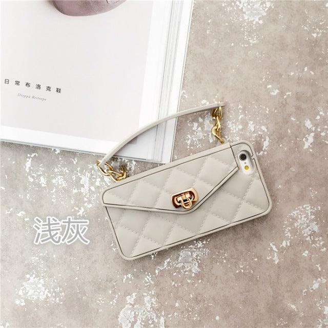 Fashion Soft Silicone Card Bag Metal Clasp Women Handbag Purse Phone Case Cover With Chain For Iphone 7 6 6S Plus - Style Lavish