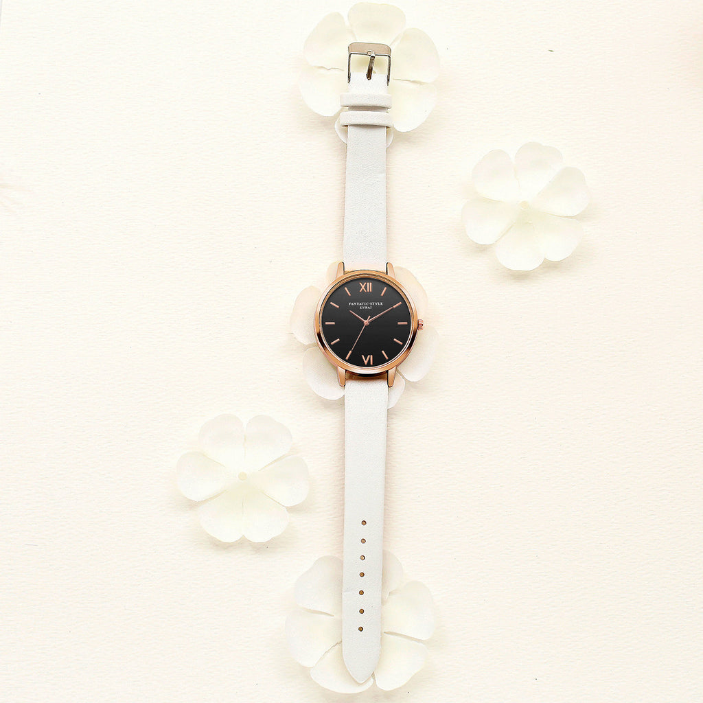 Women Watches Bracelet Watch Ladies Retro Design Leather Band Analog Alloy Quartz Wrist Watch