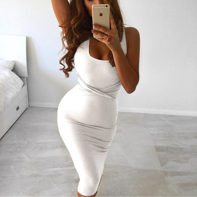 Women Sexy Sleeveless White Tank Bodycon Dress Cross Criss Cotton Blend Party Slim Dresses - Style Lavish