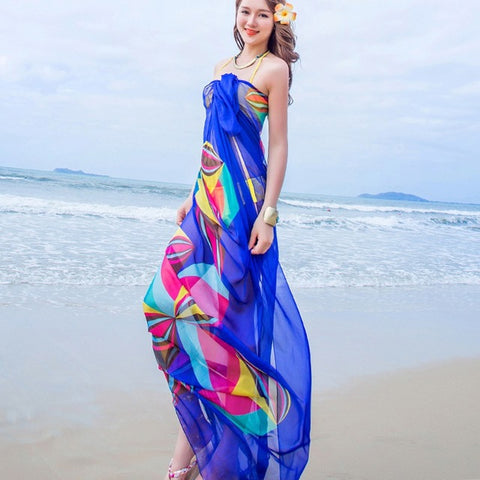 140x190cm Scarf Women Summer Beach Sarongs Chiffon Scarves Geometrical Swimsuit Cover Up Dress Wraps
