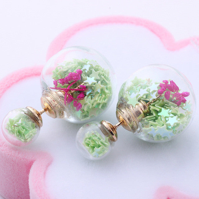 Fashion Women Glass Beads Flower Stars  Elegant Double Stud Earrings Jewelry For Gift - Style Lavish