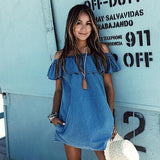 Women Sexy Summer Beach Dress Casual Sleeveless Evening Party Short Mini Jean Dress Blue