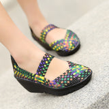 Summer Women Platform Sandals Woven Flat Shoes Flip Flops Multi Colors Ladies Shoes