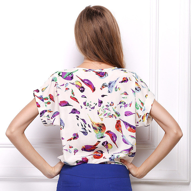 Women Printing Blouse Bird Bat Shirt Short-Sleeved Chiffon Summer Style - Style Lavish
