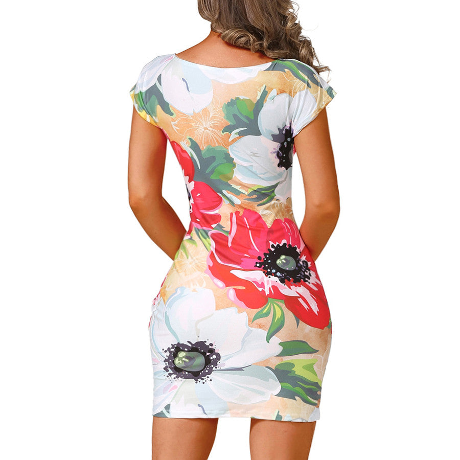 Fashion Summer Women Dress Flowers Print Slim Mini Casual Party Dresses - Style Lavish