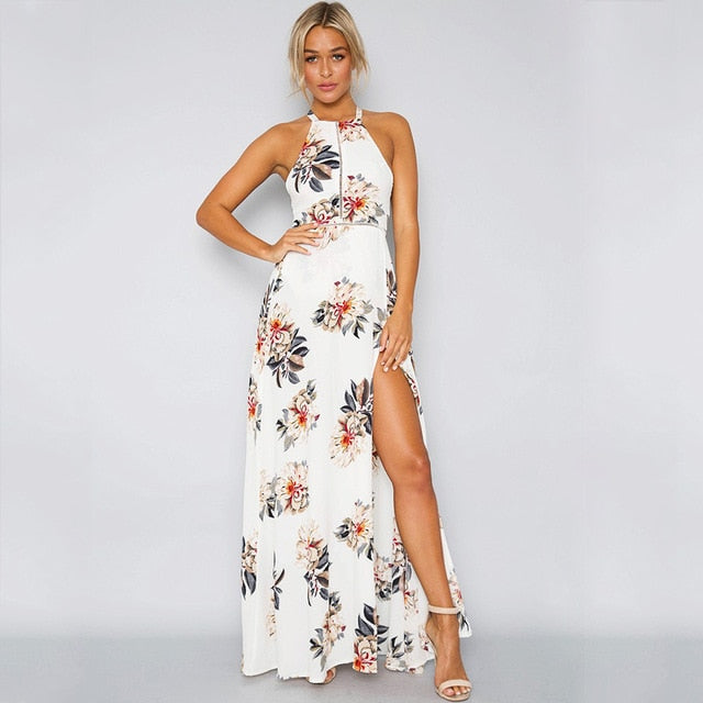 9f1a154dc074c Bohemian Floral Print Summer Maxi Dress Off Shoulder Women Beach Long Dress  Backless Sexy Split Party Dresses