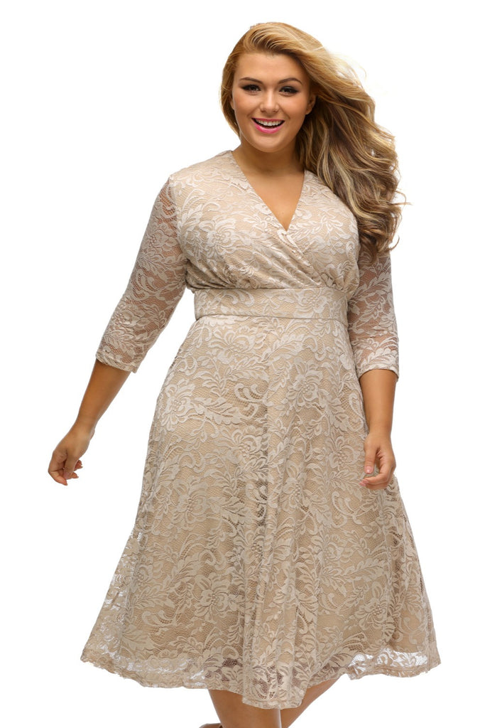 Women's Slim Fall  Lace Dresses Surplice Formal Skater Dress Casual