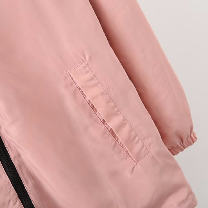 Spring Autumn Fashion Women Jacket Coat Pocket Zipper Hooded Two Side Wear Cartoon Print Outwear Loose