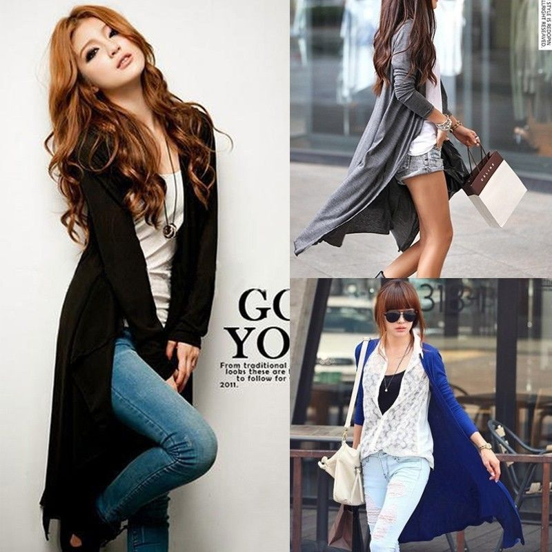 Women Long Sleeve Knitted Cardigan Loose Sweater Outwear Long Jacket Coat