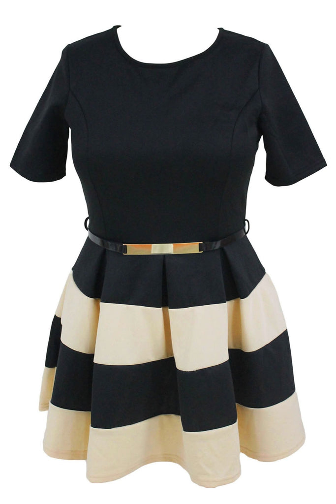 Casual Autumn Short Sleeve Apricot Stripes Detail Belted Skater Dress - Style Lavish