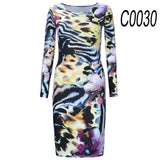 Autumn Long-sleeved Dresses Slim O-neck Retro Print Women Dress Casual Dresses - Style Lavish