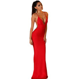 Summer Style Elegant Long Dress Special Occasion Red Black White Spaghetti Strap Maxi Dresses