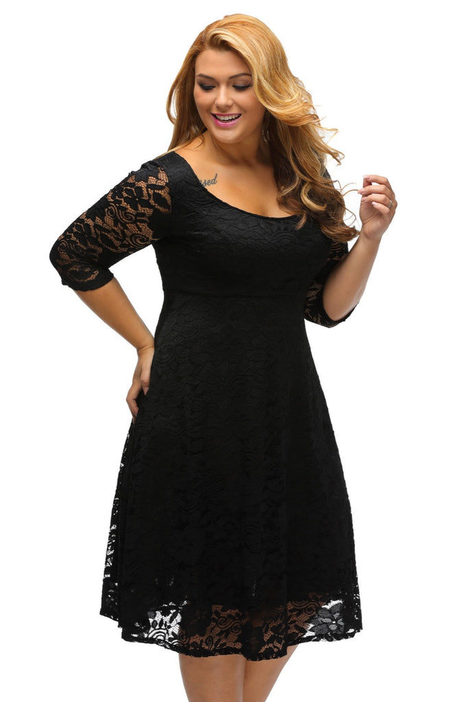 Women Elegant Floral Lace Sleeved Fit and Flare Curvy Dresses