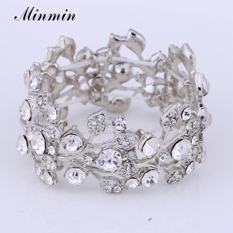 Crystal Leaf Silver Color Bridal Bracelets for Women  Fashion Wedding Jewelry - Style Lavish
