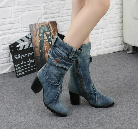 Women Thick Heels Blue Denim Half Boots Winter Warm Mid Calf Crystal Knight High Boots
