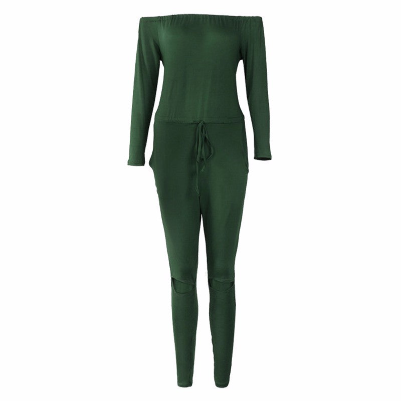 Jumpsuits For Women Summer Elegant Long Sleeve Slash-Neck Off Shoulder Jumpsuit Rompers