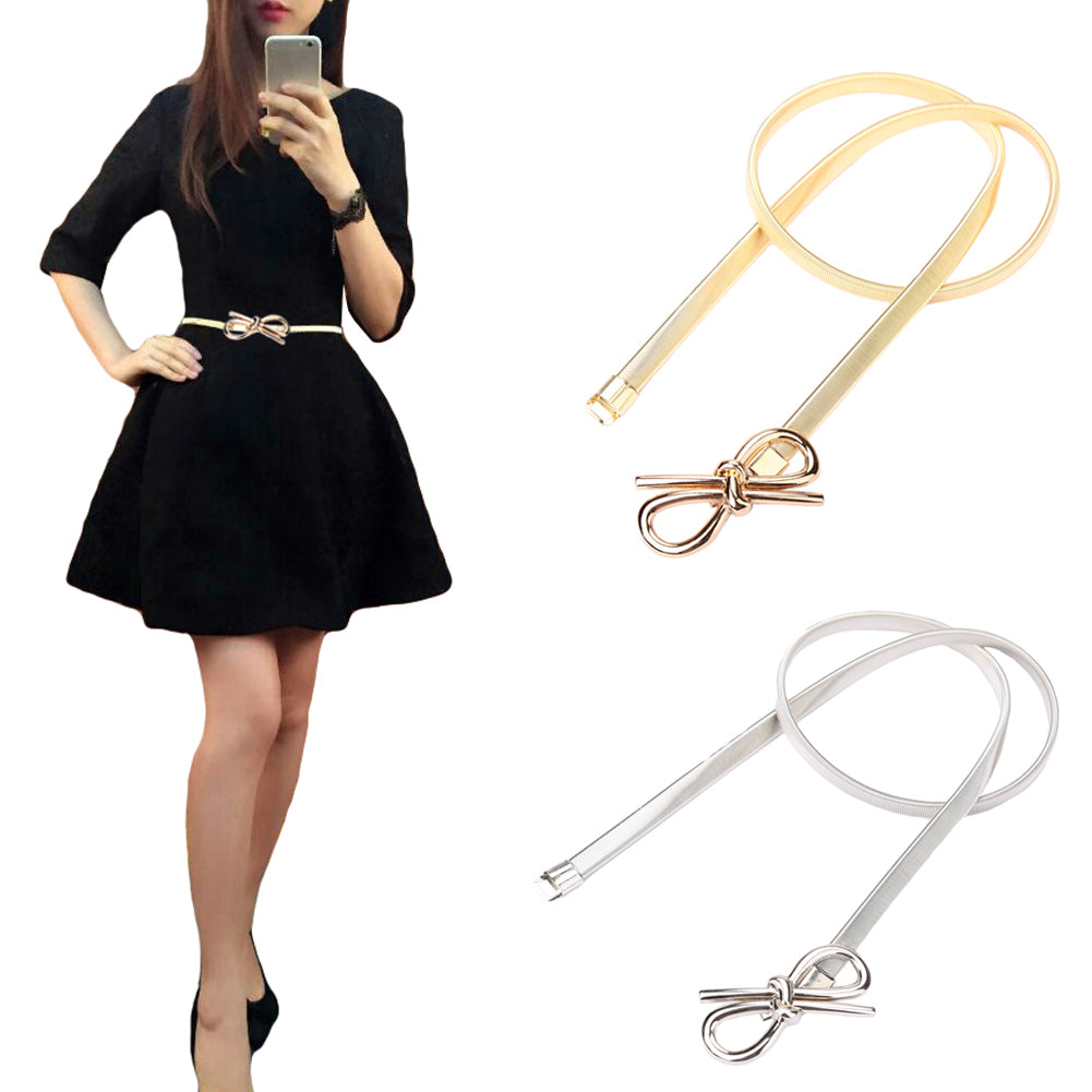 Women Belt Metal Bow Design Clasp Front Stretch Elastic Waist Dress Belt Strap Waistband