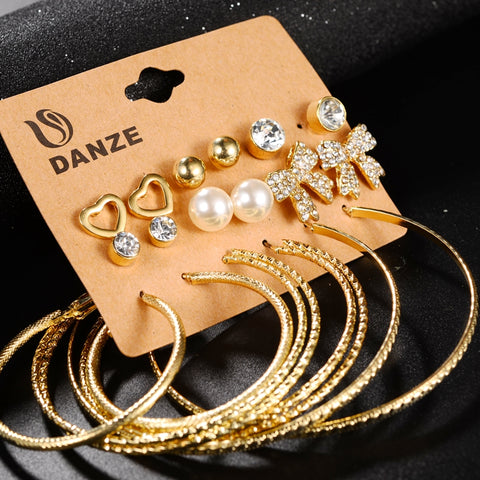 9 Pairs Lot Punk Heart Bow Stud Earrings set for Women Crystal Bowknot Earring Big Circle Studs Jewelry