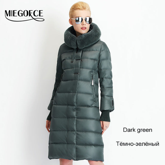 Women Coat Jacket Medium Length Woman Parka Fur Winter Thick Coat