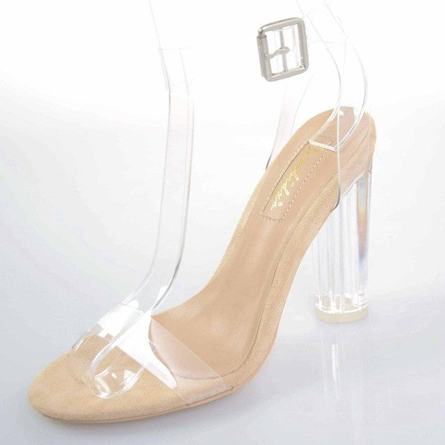 Jelly Sandals Open Toe High Heels Women Transparent Perspex Shoes - Style Lavish