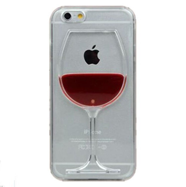 For iphone 7 case red Wine Cup Liquid Transparent Case For Apple iPhone 7 7 plus 6 6S plus 5 5S 5C 4 4S Phone Cases Back Covers