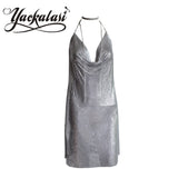 Women Party Dress Silver Metal Mesh  Halter Straps Sexy Deep-V Backless - Style Lavish