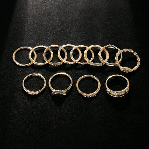 12 Pc set Charm Gold Midi Finger Ring Set Vintage Punk Boho Knuckle Party Rings Jewelry Gifts