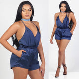 Solid V-neck Backless Halter Neck Summer Jumpsuits Rompers Womens Jumpsuits Shorts