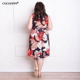Fashionable Printing Women Dresses Knee-Length Dress Casual V-Neck Loose Dress - Style Lavish