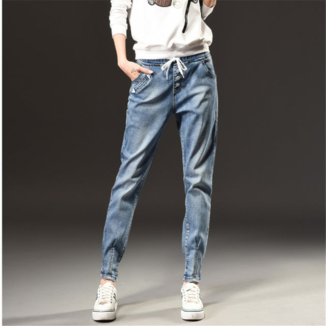 Autumn Winter Fashion High Waist Jeans Woman Leisure Slim Elastic Waist Vintage Harlan Pants Women Jeans - Style Lavish