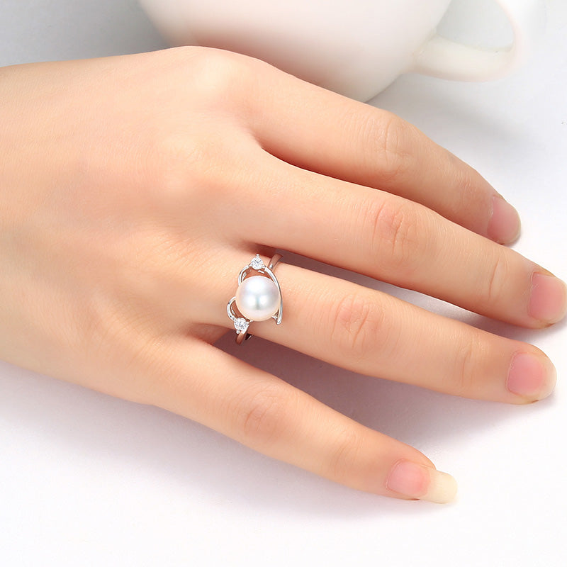 925 Sterling Silver Ring For Women love Ring 9-10 mm Genuine Freshwater Pearl Jewelry - Style Lavish