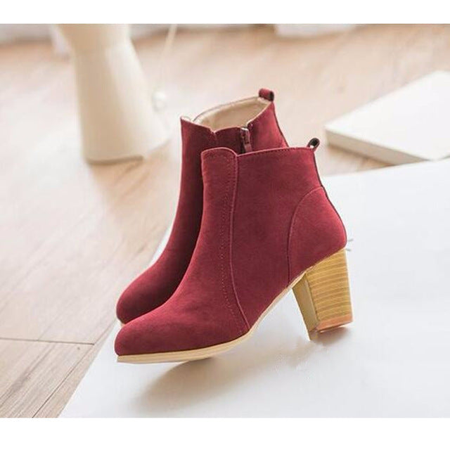 Autumn Winter Short Cylinder Boots With High Heels Shoes Martin Boots Women Ankle Boots With Thick Scrub - Style Lavish