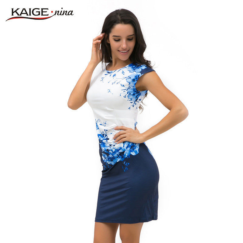 Women Bodycon Dress Women Clothing Chic Elegant Sexy Fashion O-neck Print Dresses - Style Lavish