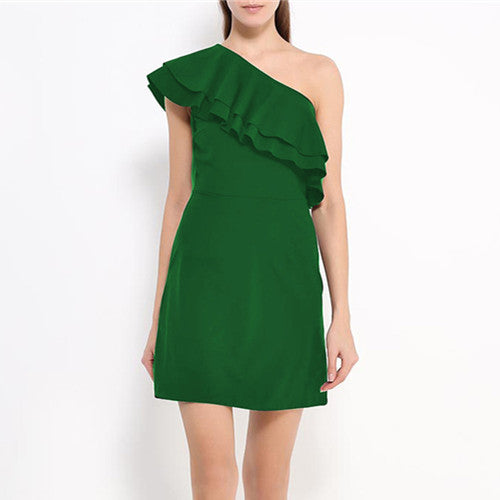 Women Dresses Summer Sexy One Shoulder Party Dress  Casual Beach Mini  Dress