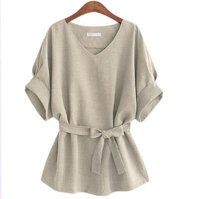 Women Summer Shirts Linen Tunic Shirt V Neck Big Bow Batwing Tie Loose Blouse Top