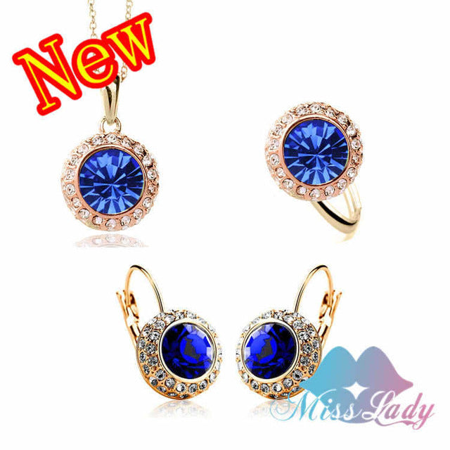 ... Women Summer Fashion Jewelry Gold Color Rhinestone Vintage Moon River  Crystal Bridal Jewelry Sets ...