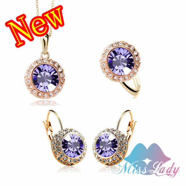 Women Summer Fashion Jewelry  Gold Color Rhinestone Vintage Moon River Crystal Bridal Jewelry Sets