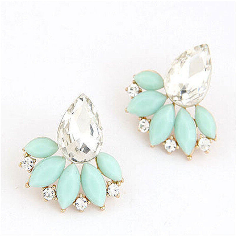 Jewelry Brand Design Retro Exquisite Women Acrylic Flower Crystal Gem Cubic Zircon Stud Earrings