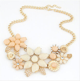 Jewelry Fashion Gem Flower Necklace Choker Necklaces Statement For Woman