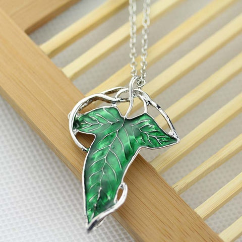 LOTR The Silver Long Elven Leaf Pendant Arwen Evenstar Pendant Necklace For Men Women