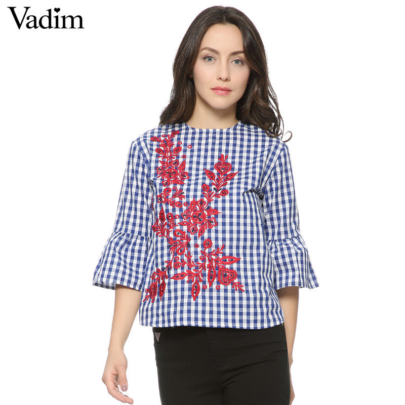 Women floral embroidery plaid blouse full cotton three quarter flare sleeve loose shirts fashion tops - Style Lavish